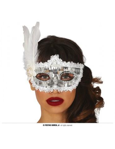 Maska z piórem, srebrna