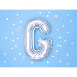 """Balon """"Litera G"""" 35cm, srebrny"""