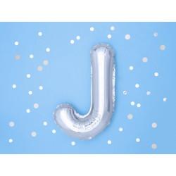 "Balon ""Litera J"" 35cm, srebrny"